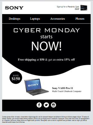 Cyber Monday e-mail sample by Chris Carrasco