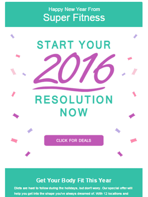 Join Gym for New Year HTML Email Sample by Chris Carrasco